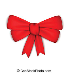 Realistic red ribbon bow
