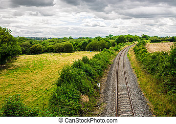 Train track through the Irish countryside