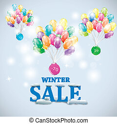 Winter sale with colorful ballons vector illustration