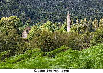 Round Tower at the Monastic site in Glendalough