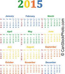 2015 Calendar With Season Specific Colors Vector...