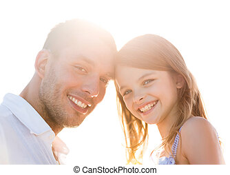happy father and child girl having fun - summer holidays,...