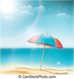 Summer day on ocean beach with umbrella. Vector illustration