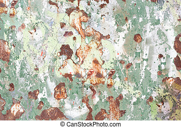 Rusting and weathered metal surface with peeling paint