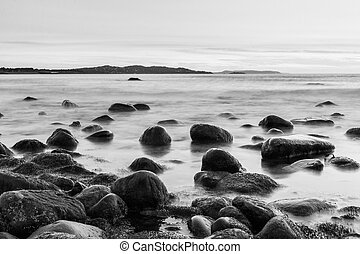 Rocks in the Irish Sea in black and white - Bray Head rocks...