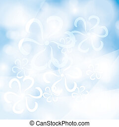 Blue summer spring background with abstract flowers