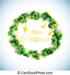 Green christmas wreath background EPS10 Vector illustration