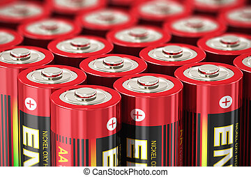 Macro view of AA batteries - Macro view of group of red AA...