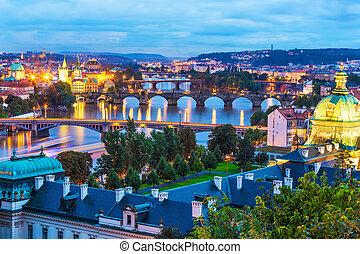 Evening scenery of Prague, Czech Republic - Evening summer...
