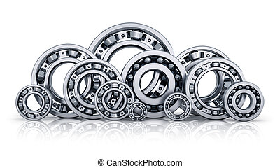 Collection of ball bearings - Collection of different steel...