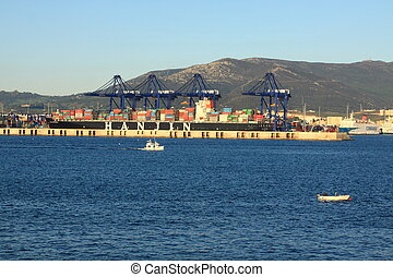 Port Algeciras,Spain - container ship in the port of...