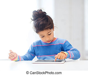 girl with tablet PC at home - education, school, technology...