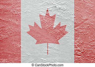 Canadian flag on the ice - Image of the Canadian flag on a...