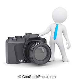 3d white man and a camera. Isolated render on a white...