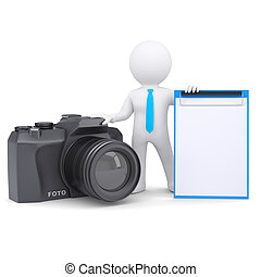 3d man and camera - 3d white man and a camera Isolated...