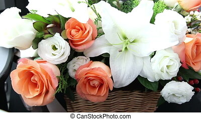 lily and roses sweet bouquets in a