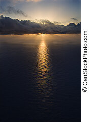 Pacific ocean sunset - Aerial of sun setting over Pacific...