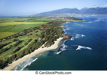 Hawaiian coastline. - Aerial view of Maui, Hawaii coastline...