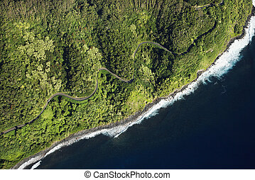Maui coastline. - Aerial view of scenic road along coast of...