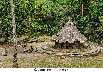Traditional native Hut at Tayrona National Park Colombia,...