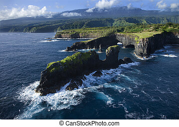 Maui coastline. - Aerial of rocky coast on Pacific ocean in...