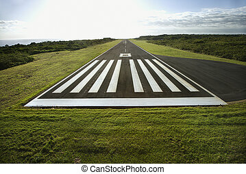 Airplane landing strip. - Aerial view of airplane landing...