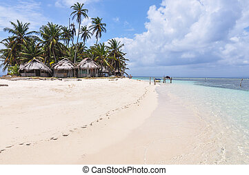 Perfect unspoiled caribbean island with native huts, San...