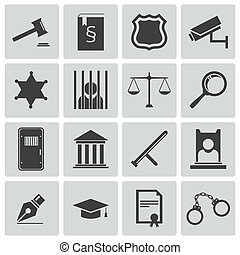 Vector black justice icons set