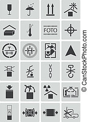 Vector black marking cargo icons set