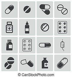 Vector black pills icon set