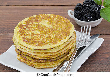 Whole Wheat Pancakes with Blackberries - tower plate with...
