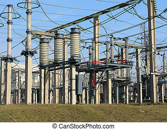 High voltage converter equipment at a power plant