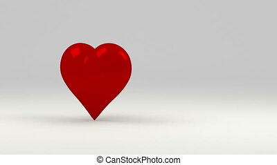 Red heart, symbol of love. White background