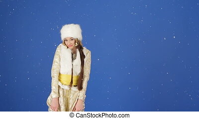 Snow maiden - Beautiful snow maiden posing for camera in a...