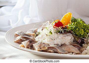 Dish with herring and cream - Appetizing dish with herring...