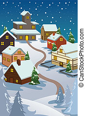 Winter village - A vector illustration of winter village...