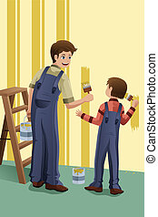 Father son painting - A vector illustration of father and...