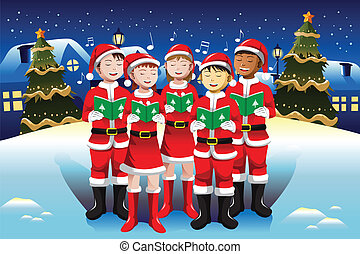 Children singing in Christmas choir - A vector illustration...