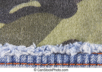camouflage and blue jeans texture border background