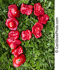 Letter P. Pepper and parsley.