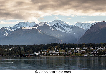 Haines Alaska with Storm Clouds - Haines Alaska across...
