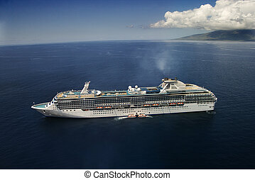 Cruise liner at sea - Aerial view of large cruise ship in...