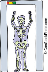 Man in Security Scanner - X ray cartoon of man in airport...