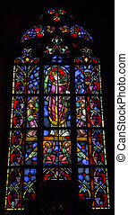 Stained glass in the Cathedral of St. John Baptist - Stained...