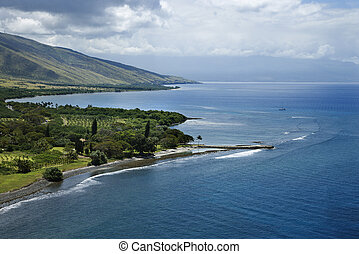 Maui coastline. - Aerial view of jetty on coastline of Maui,...