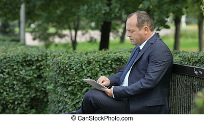 Businessman in park - Side view of a serious entrepreneur...
