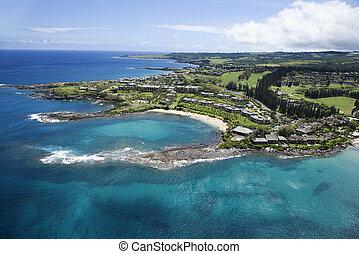 Maui coastline. - Aerial view of buildings on coastline of...