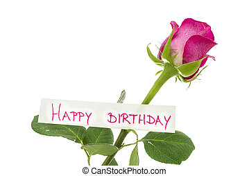 Happy birthday card attached to a beautiful pink rose....