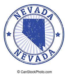 Nevada stamp - Grunge rubber stamp with the name and map of...