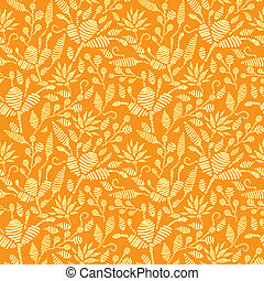 Golden floral embroidery seamless pattern background